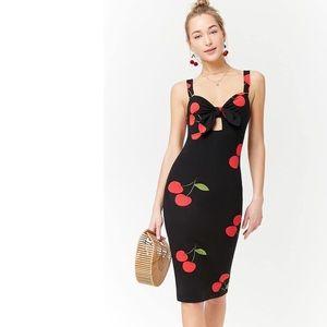 Fitted Black Cherry Midi Dress